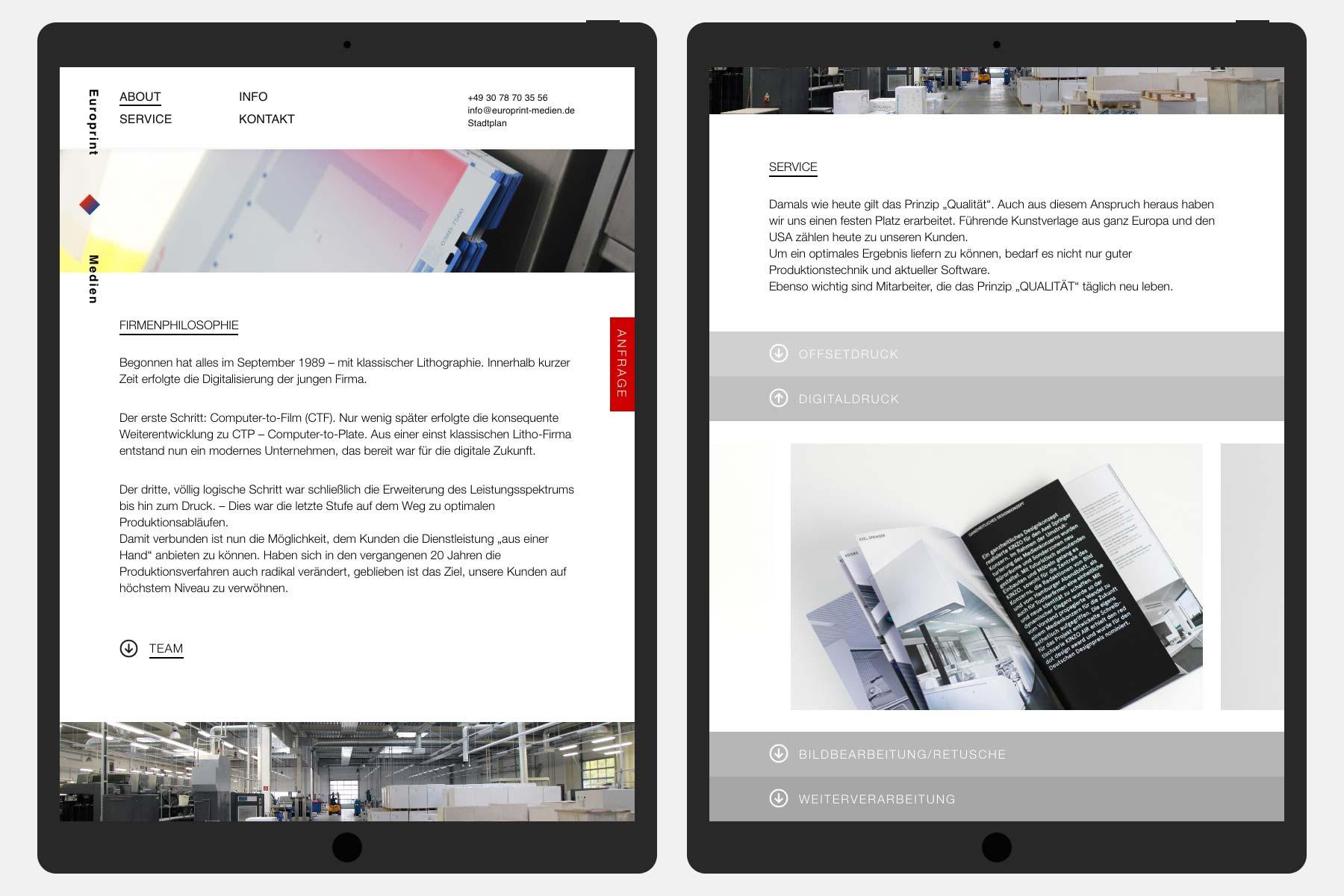 Europrint Medien – Onepage [Tablet]